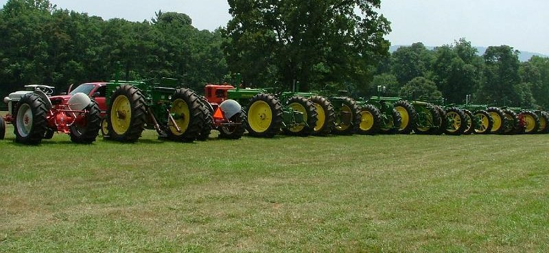 Tractors in a line at Antique Farm Days
